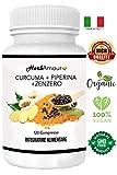 HerbAmour Curcuma+Piperina+Zenzero   120 cpr. Naturali Di Puro Estratto Di Curcumina (320 Mgr), Piperina (20 Mgr) Al 95% Di...